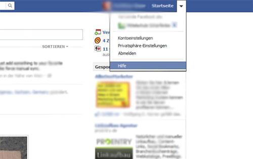 Facebook Account löschen Schritt 1