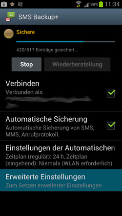 SMS Backup unter Android