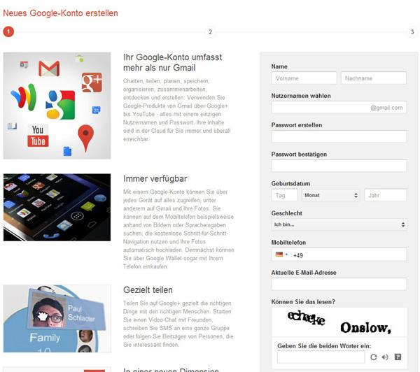 Gmail konto Anmeldung