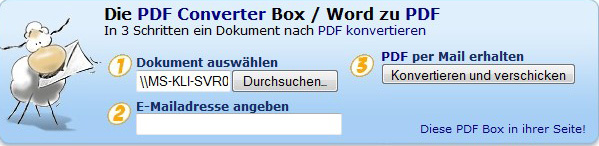 Eingabebox Online PDF Converter