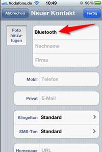 Bluetooth als neuen Kontakt erstellen