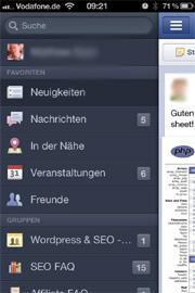 Facebook App Zentrale