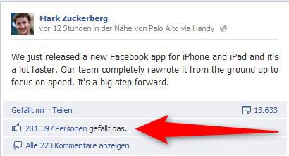 Die neue Facebook App