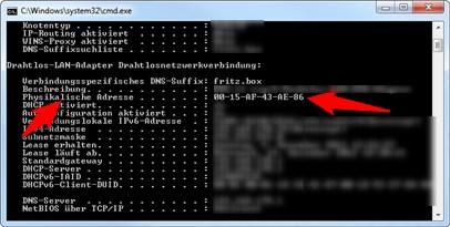 MAC Adresse PC
