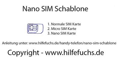 Nano SIM Schablone