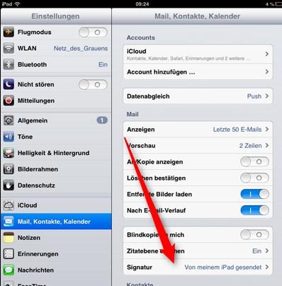 iPad Signatur ändern