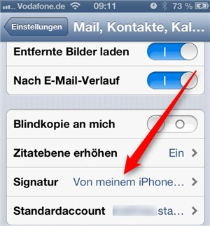 iPhone Signatur ändern