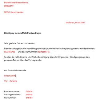 handyvertrag kndigung vorlage - Kundigungsschreiben Handyvertrag Muster