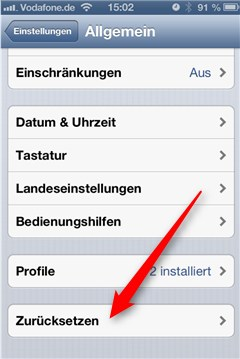 iPhone Werkseinstellungen