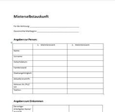 mieterselbstauskunft formular