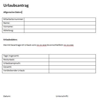 Urlaubsantrag Vorlage Muster Beispiel Kostenlos Downloaden 0
