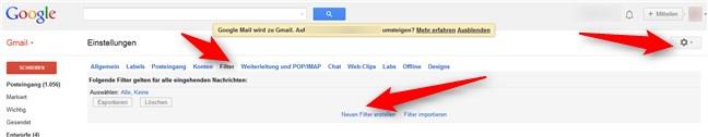 Gmail Filter setzen